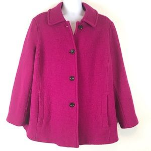 Lands' End Wool Blend Pea Coat Boucle Texture Pink